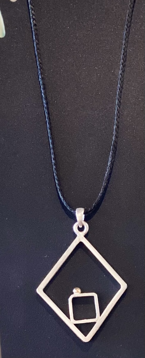 Diamond frame with gold ball pendant (large) - GOLD BALL SERIES