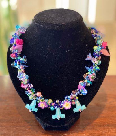 Multi colour blue (Blue flower drops) necklace