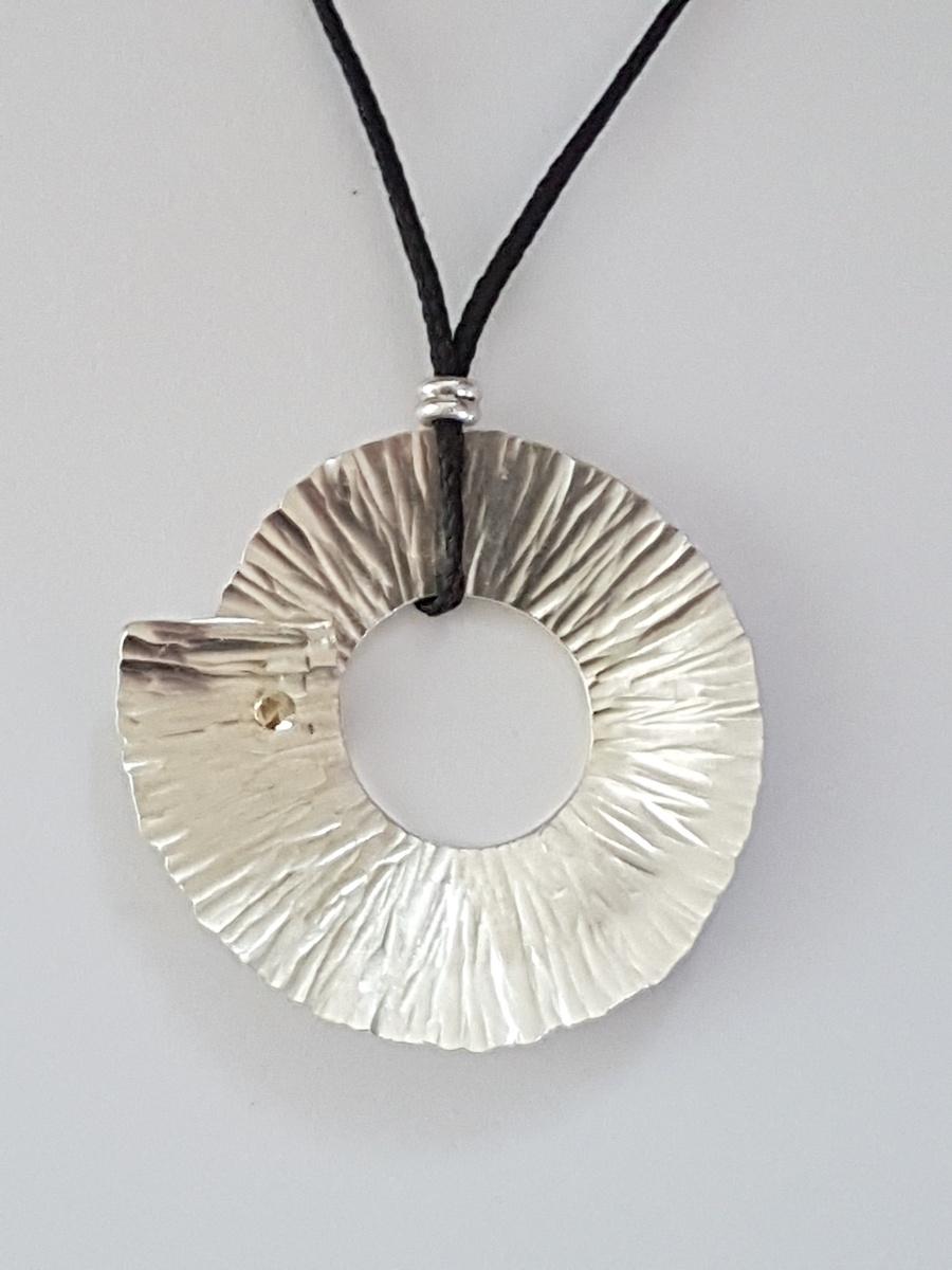 Silver Peel - reversible pendant (large)