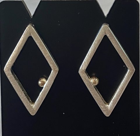 Diamond shape earrings with gold ball