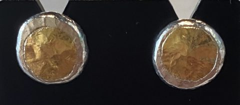 Fine and Sterling silver earrings with 22 ct. gold- studs