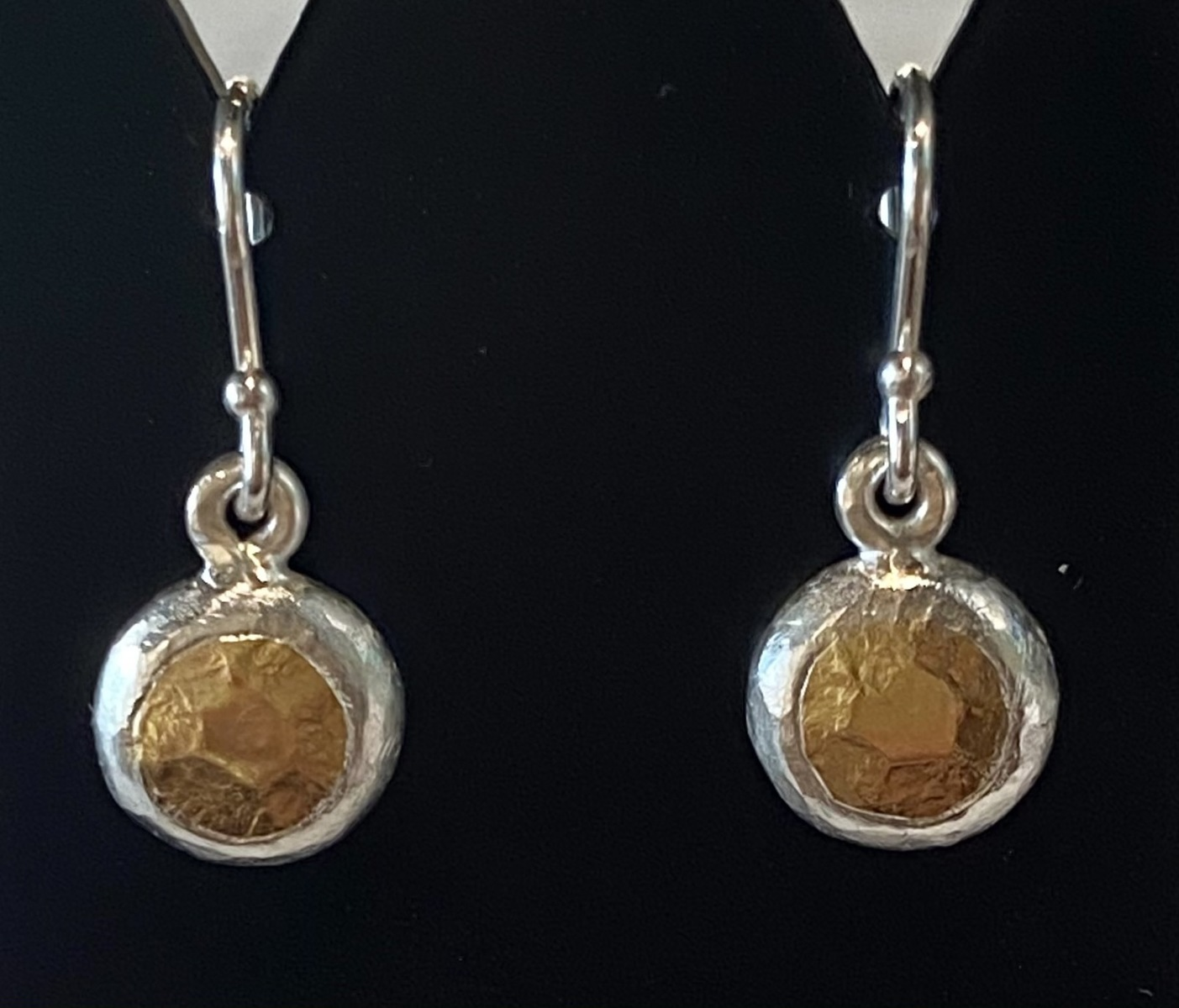Fine and Sterling silver earrings with 22 ct. gold- hooks - short