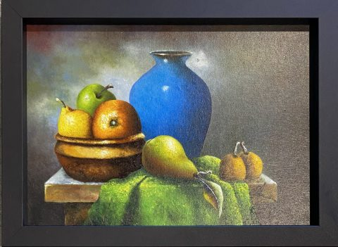 Blue Vase with Fruit