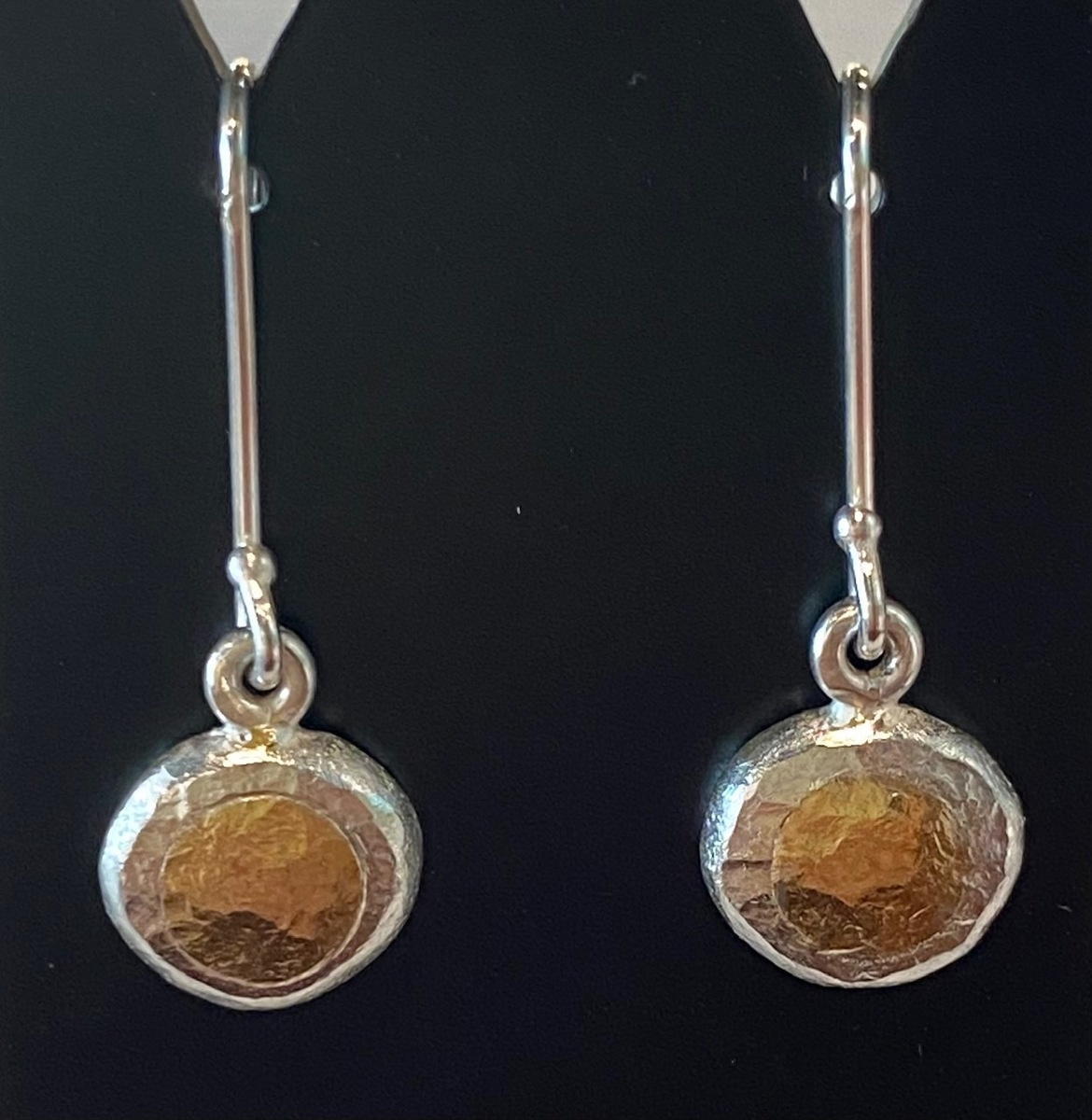 Fine and Sterling silver earrings with 22 ct. gold - hooks (long)