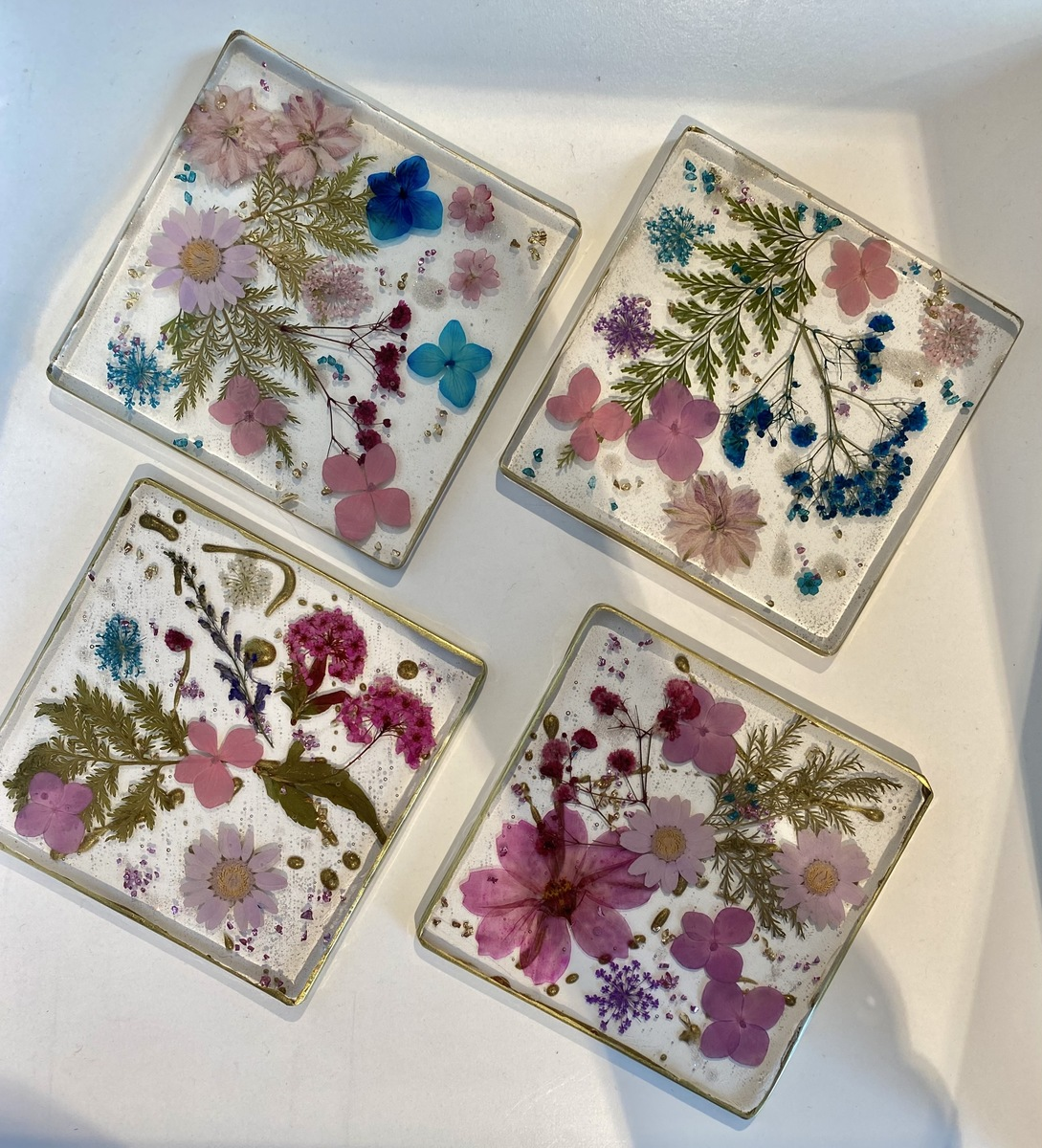 Flower coasters (set of 4) square