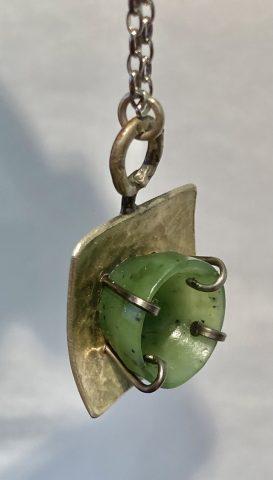 NA 135 - Pounamu, pure silver and titanium - pendant
