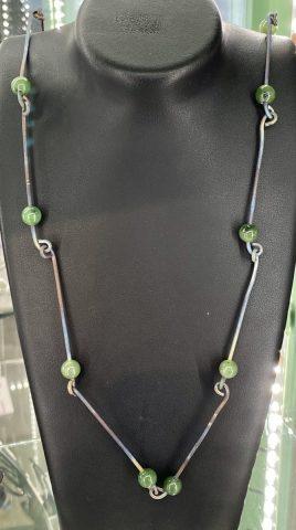 NA150- Pounamu and titanium necklace