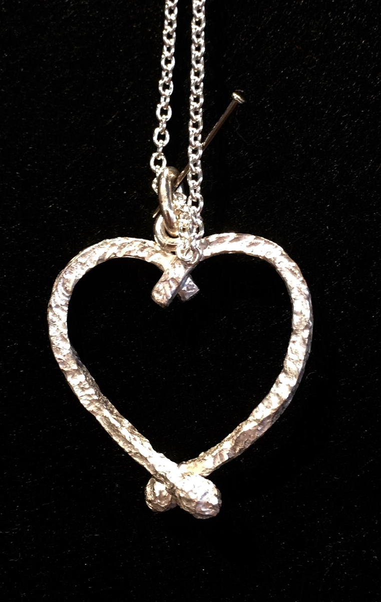 Silver Burnt match heart pendant