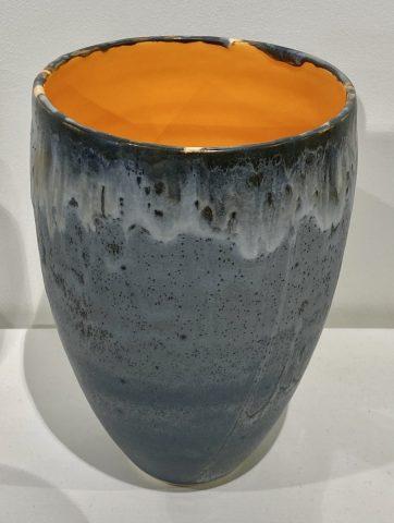 Medium stoneware vase form (orange)