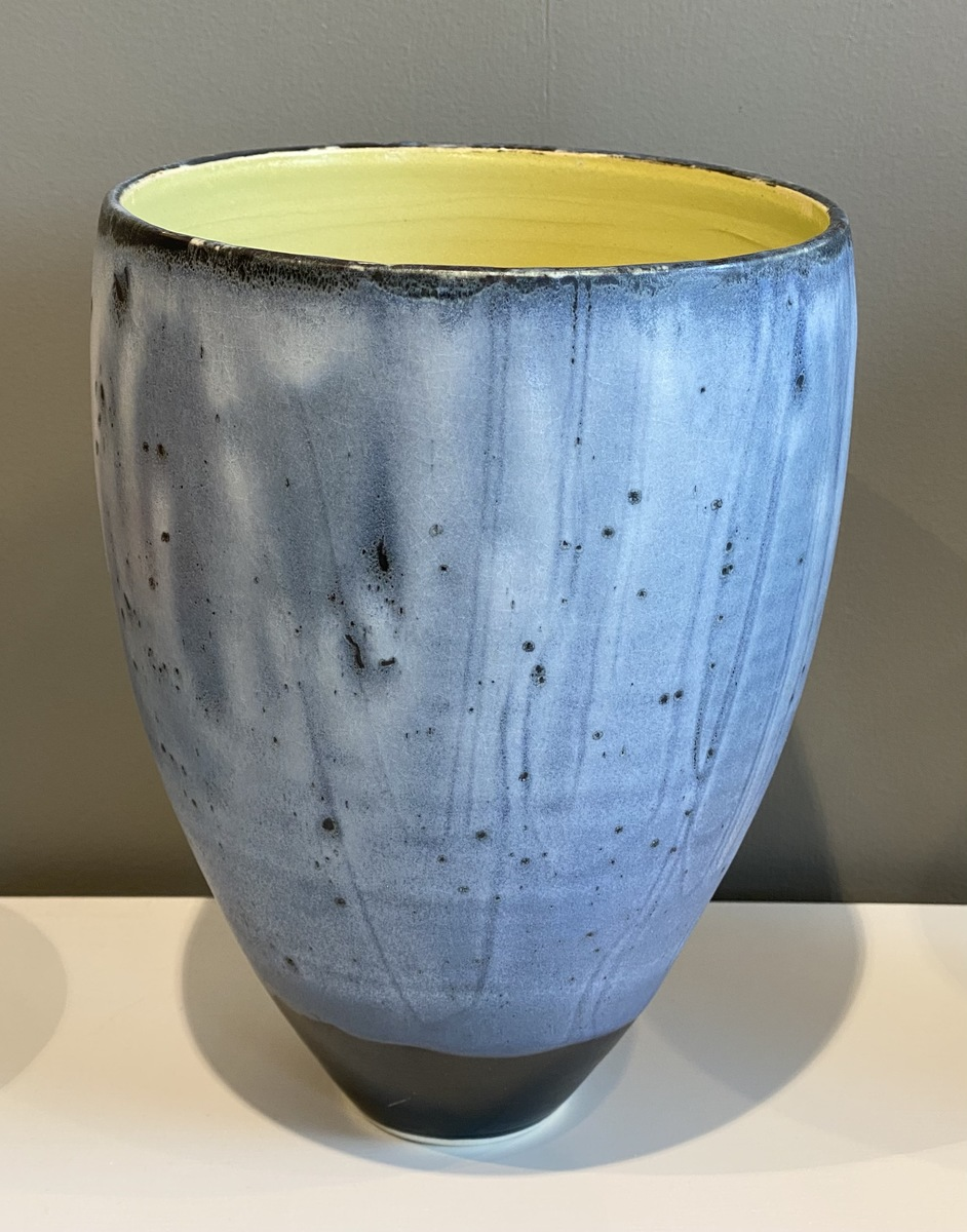 Large Stoneware vase form (green internal)