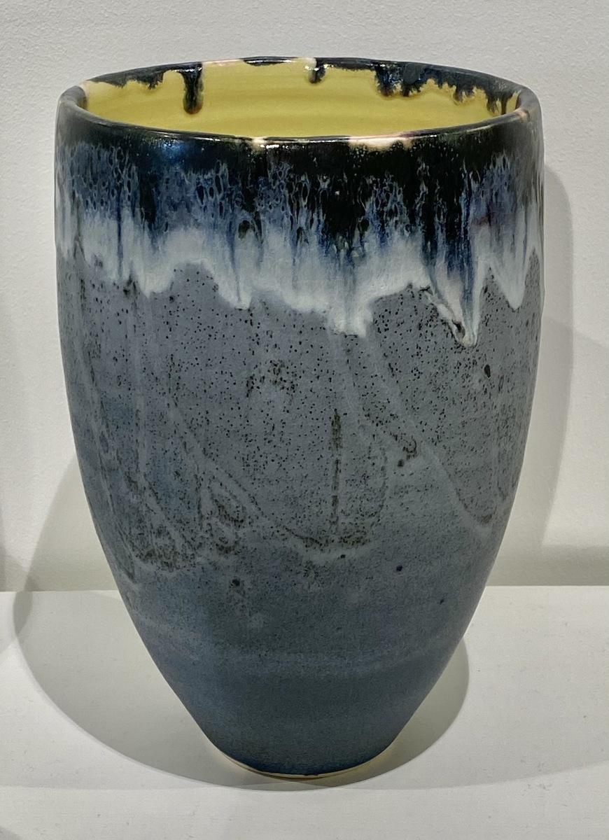 Medium stoneware vase form (green)