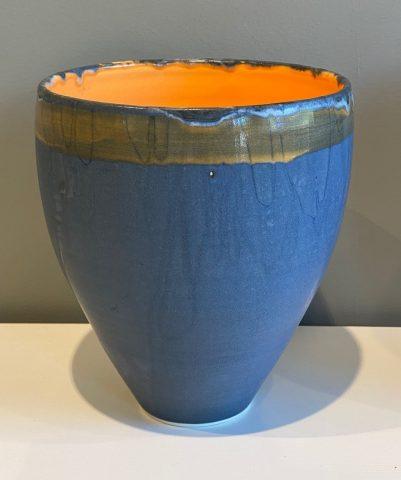 Large Stoneware vase form (orange internal)