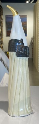Bird Totem - White with black edge cape