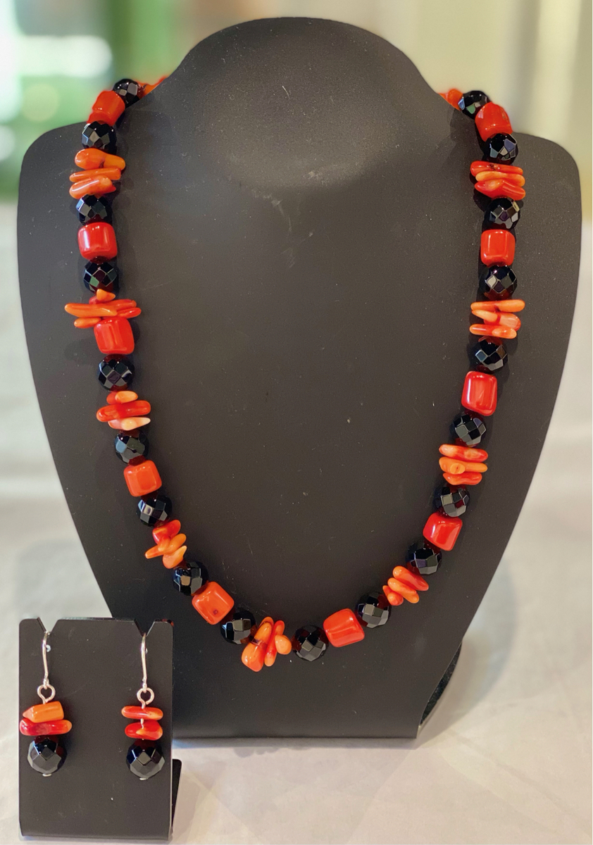 Orange Bamboo coral necklace (includes earrings) 25755
