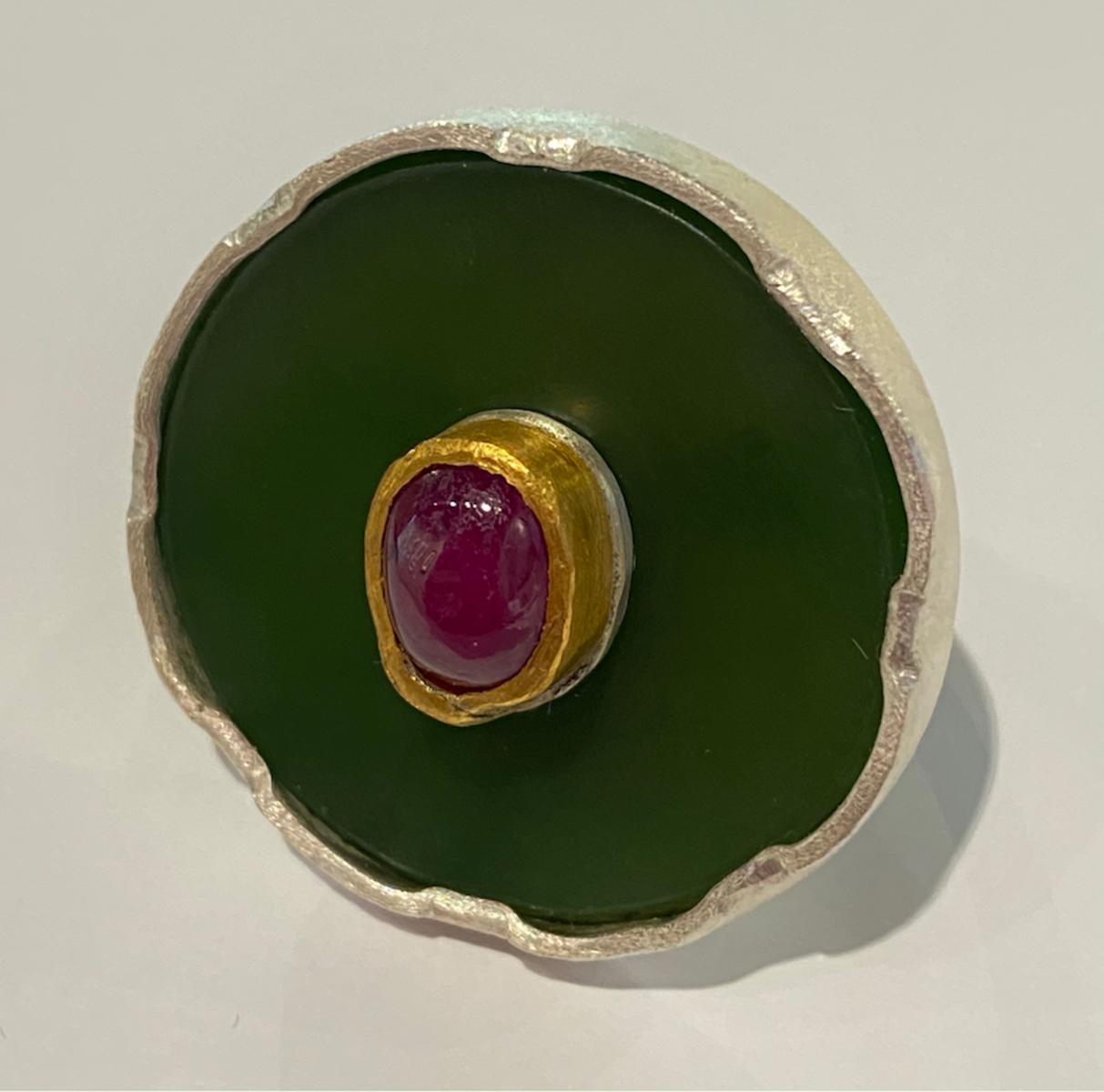 Pounamu, sterling silver, 24ct gold and ruby ring