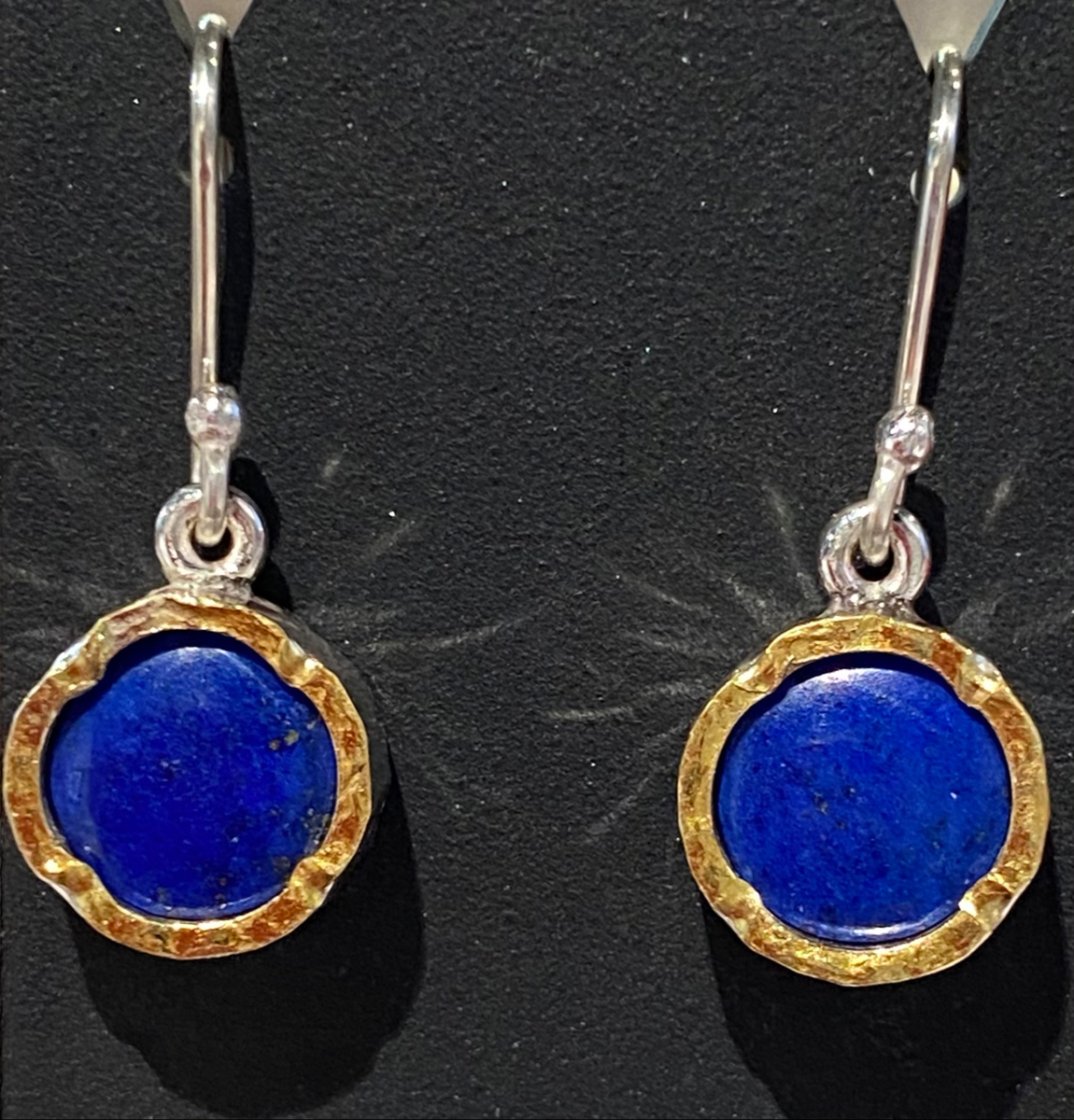 Lapis gold edged round earrings