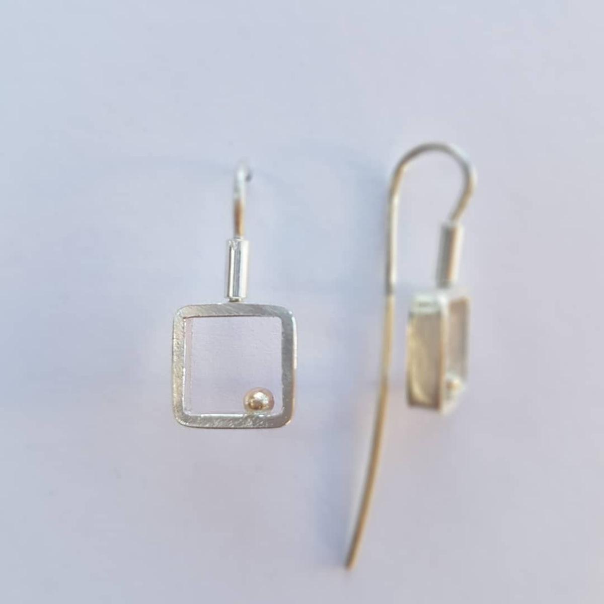 Gold Ball series - square hook earrings (lge)