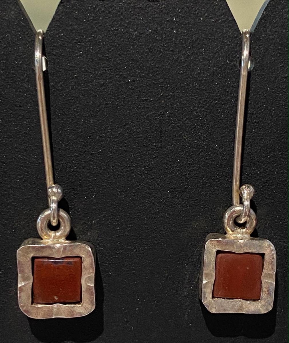 NZ Jasper sterling silver square earrings