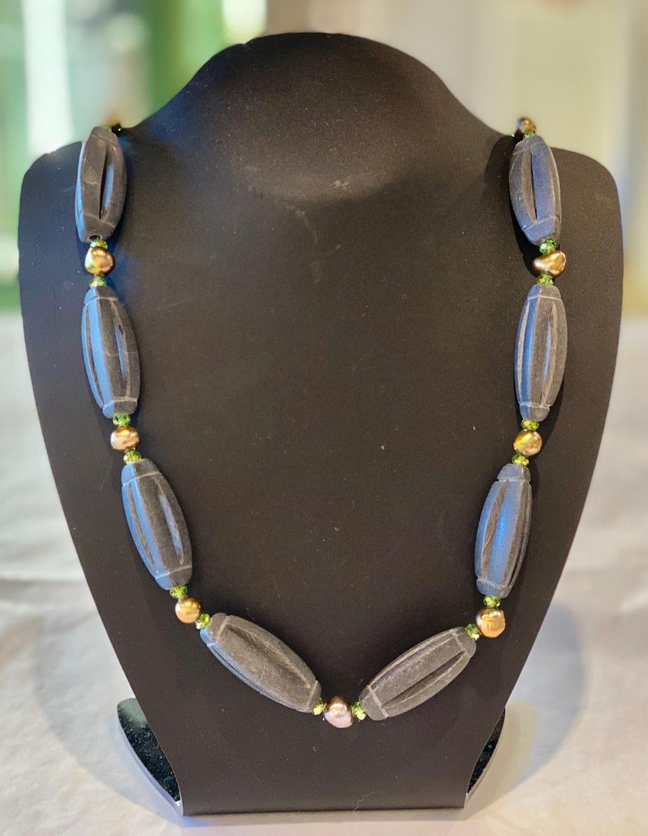 Carved lava rock necklace  (25760)
