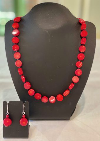 Red Bamboo coral necklace (includes earrings) 25740