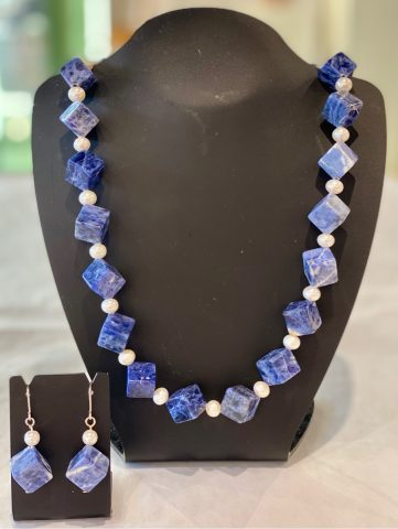 Sodalite and Freshwater pearl necklace (includes earrings) 25775