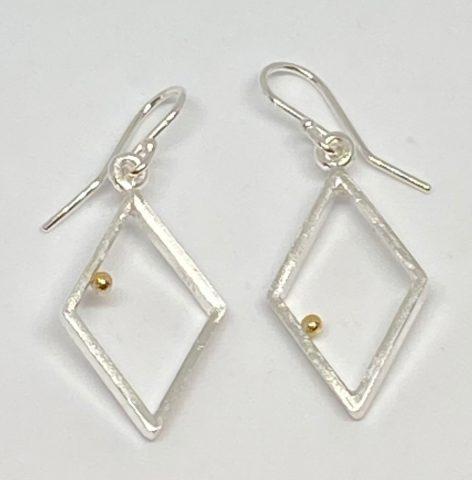 Gold Ball series - diamond drop earrings