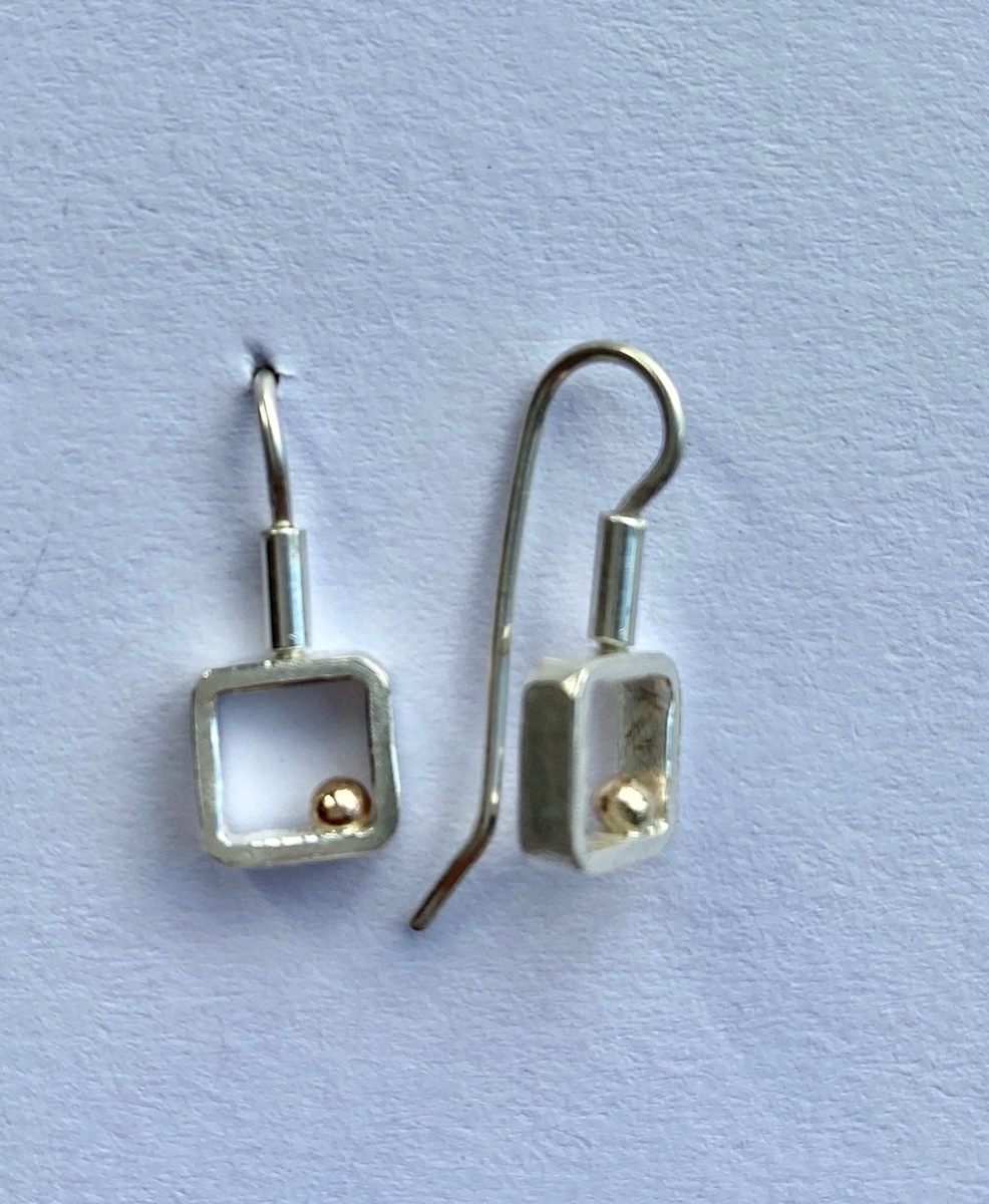Gold Ball series - square hook earrings (sm)