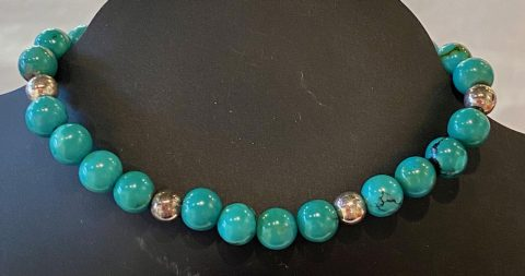 Turquoise and silver bead Bracelet (2575150)