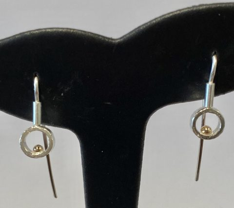 Gold Ball series - Round sterling silver with 18ct gold ball