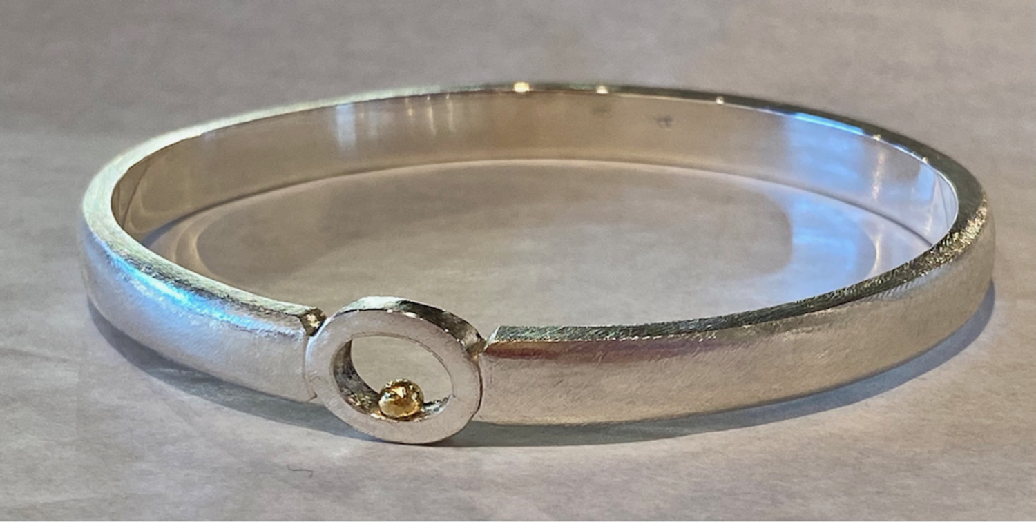 Sterling silver bangle with 22ct gold ball - Gold Ball series