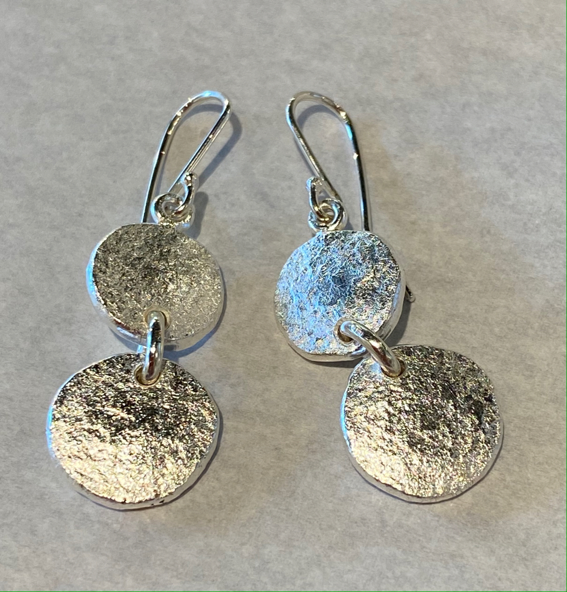 Sterling silver and Fine Silver earrings (2 disc)