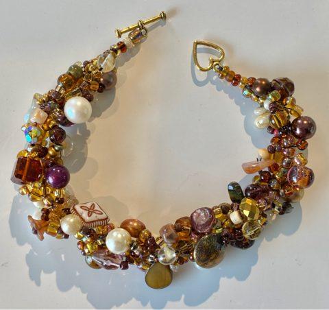 Bracelet - narrow - chocolate and pearls