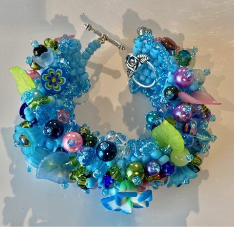 Bracelet - wide -blues with flowers