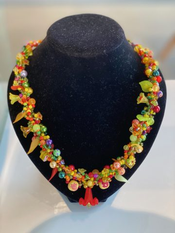 Necklace - yellows, greens,oranges