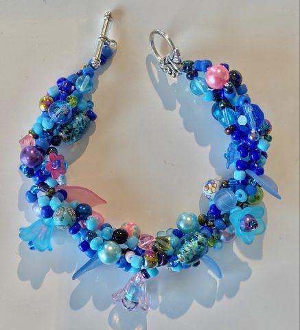 Bracelet - narrow -blues with flowers
