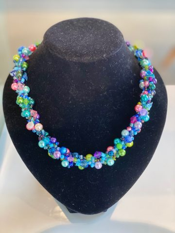 Necklace - blues, green, pinks