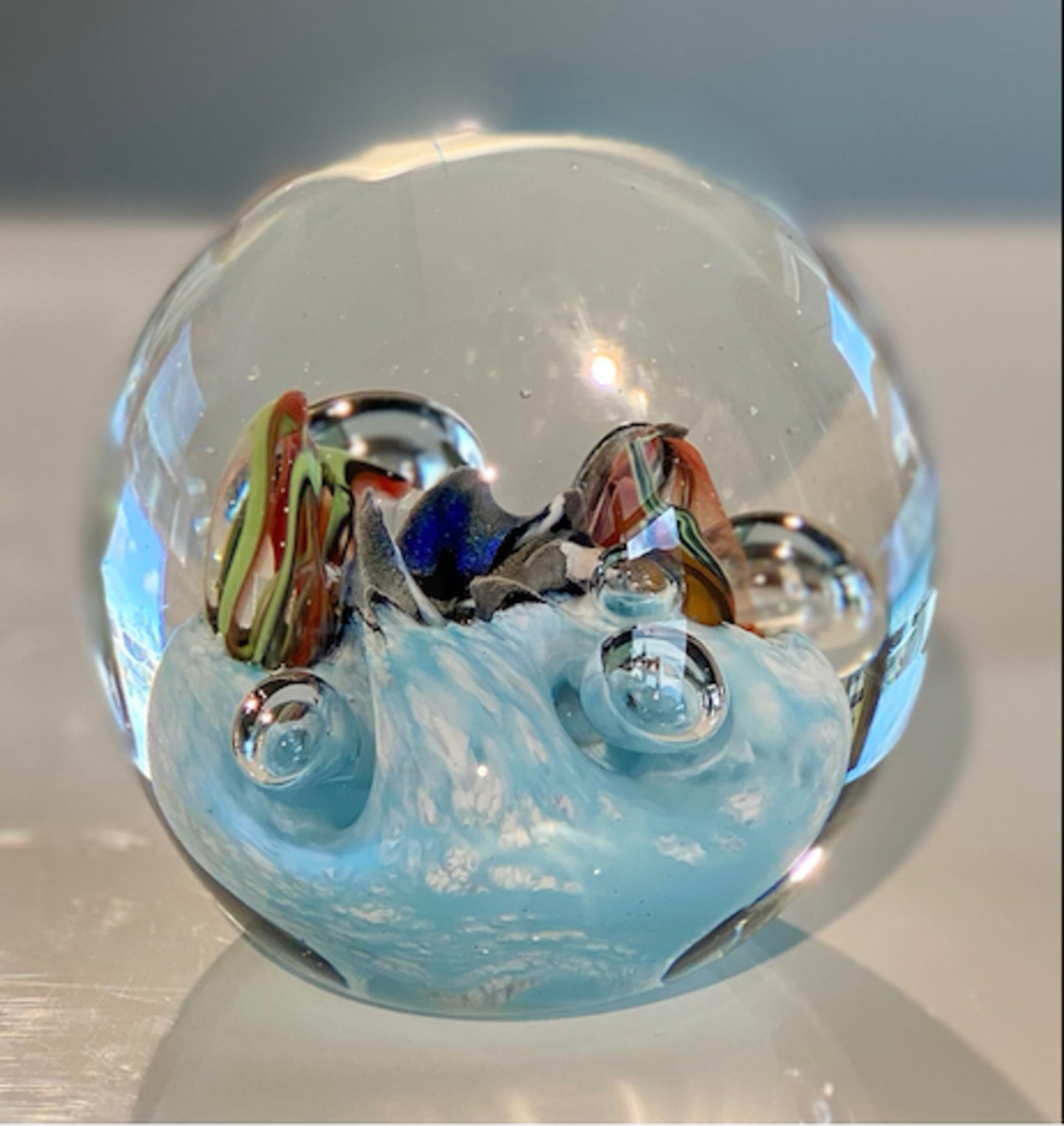 Glass paper weight - Baby blue